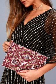 Etched in Stone Burgundy Beaded Clutch at Lulus.com!