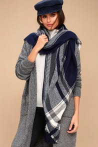 Frosty Friend Navy Blue Plaid Scarf at Lulus.com!