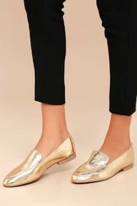 CHICAGO GOLD LOAFERS at Lulus.com!