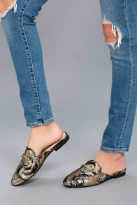 pippin black and rose gold embroidered loafer slides at Lulus.com!