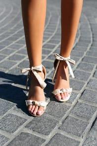Raina Champagne Crushed Velvet Lace-Up Heels at Lulus.com!