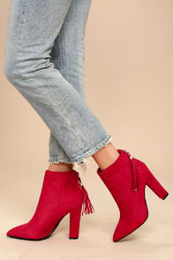 Mishka Red Suede Pointed Toe Ankle Booties at Lulus.com!