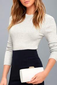 ELSBETH WHITE SUEDE CLUTCH at Lulus.com!