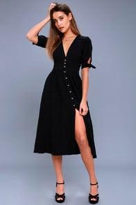 Love of My Life Black Midi Dress at Lulus.com!