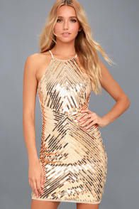 ACE OF SPADES GOLD SEQUIN BODYCON DRESS at Lulus.com!