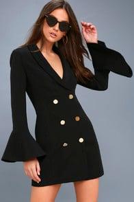 Manchester Black Flounce Sleeve Blazer Dress at Lulus.com!