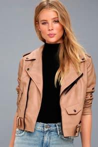 Maryella Nude Vegan Leather Moto Jacket at Lulus.com!