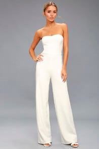 Edith White Strapless Jumpsuit at Lulus.com!