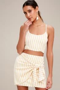 Riviera Tan Striped Wrap Mini Skirt at Lulus.com!