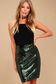 Dancing Til Daylight Dark Green Sequin Bodycon Skirt at Lulus.com!