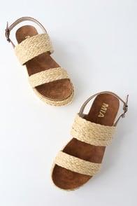 Ava Natural Rafia Flatform Sandals at Lulus.com!