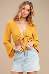 Weekend Wishes Mustard Yellow Tie-Front Long Sleeve Crop Top at Lulus.com!
