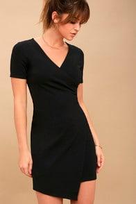 rowen black asymmetrical bodycon dress at Lulus.com!