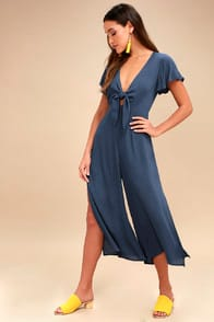 Please and Thanks Teal Blue Tie-Front Culotte Jumpsuit at Lulus.com!