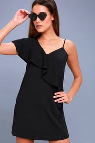 Time of Your Life Black Asymmetrical Shift Dress at Lulus.com!