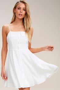Sweet Destiny White Button-Front Skater Dress at Lulus.com!