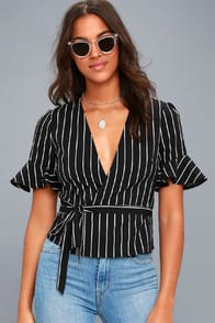 Debonair Black and White Striped Wrap Top at Lulus.com!