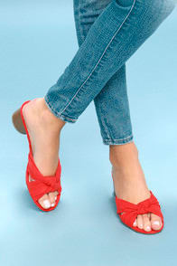LUCA POPPY RED SUEDE MULES at Lulus.com!