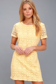 Love You For Eternity Yellow Lace Shift Dress at Lulus.com!