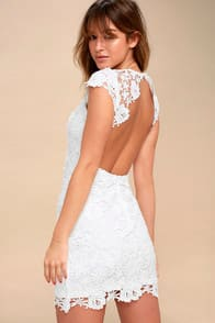 Romance Language White Backless Lace Dress at Lulus.com!