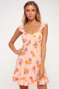 BRIANNE PINK FLORAL PRINT BUSTIER MINI DRESS at Lulus.com!