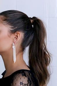 Espyn Silver Rhinestone Tassel Earrings at Lulus.com!