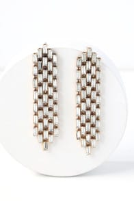 Sweet and Shimmer Gold Rhinestone Earrings at Lulus.com!