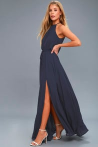Essence of Style Navy Blue Maxi Dress at Lulus.com!