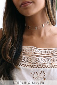 BAR NONE STERLING SILVER CHOKER NECKLACE at Lulus.com!