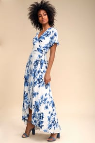 Floral of the Story Blue and White Floral Print Wrap Maxi Dress at Lulus.com!