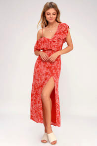 Midnight Flower Red Floral Print Asymmetrical Maxi Dress at Lulus.com!