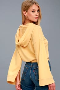 Edison Golden Yellow Cropped Hoodie at Lulus.com!