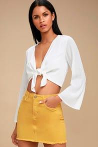 Pop and Lock Mustard Yellow Denim Mini Skirt at Lulus.com!