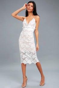 Bardot Vienna White Lace Midi Dress at Lulus.com!