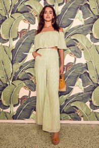 BIRCH SAGE GREEN STRIPED OFF-THE-SHOULDER TWO-PIECE JUMPSUIT at Lulus.com!