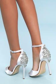 Arwen White Rhinestone Satin Peep-Toe Heels at Lulus.com!