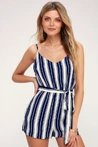 CARRAWAY NAVY BLUE AND WHITE STRIPED ROMPER at Lulus.com!