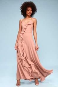 SELMAH MAUVE RUFFLED LACE-UP MAXI DRESS at Lulus.com!
