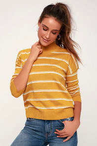Armed Mustard Yellow Striped Sweater Top at Lulus.com!
