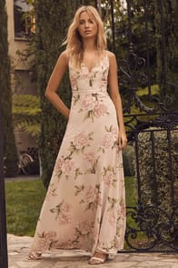Lulus Romantic Memories Taupe Floral Print Maxi Dress at Lulus.com!