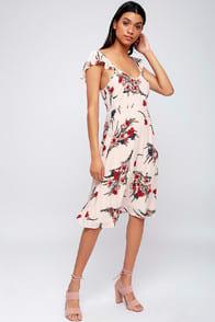 Take A Bow-Quet Blush Floral Print Midi Dress at Lulus.com!