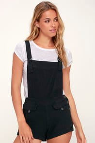 Expedition One Piece Black Short Overalls at Lulus.com!