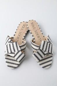 Matty Cream and Black Striped Slide Sandals at Lulus.com!