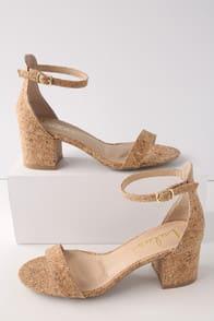 Harper Cork Ankle Strap Heels at Lulus.com!