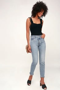 WEDGIE FIT LIGHT WASH HIGH RISE JEANS at Lulus.com!