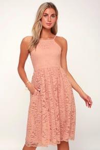 Kinzie Blush Pink Lace Midi Dress at Lulus.com!