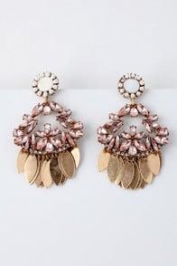 Candela Gold and Pink Rhinestone Earrings at Lulus.com!