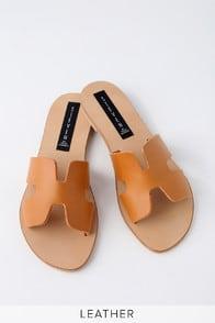 Greece Cognac Leather Slide Sandals at Lulus.com!