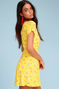 Lush Cicely Yellow Floral Print Wrap Dress at Lulus.com!