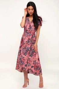 Lorna Mauve Pink Floral Print Midi Wrap Dress at Lulus.com!